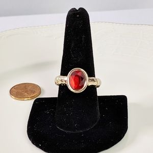 🌜3 for $25🌛Gold Tone Red Oval Stone Stretch Ring